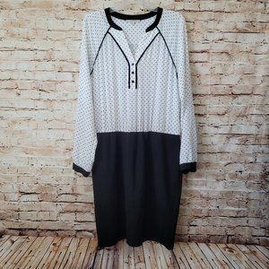 41 Hawthorn Long Sleeve White Polka Dot Dress L